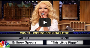 Christina Aguilera does Britney Spears Impression 'This Little Piggy' on The Tonight Show