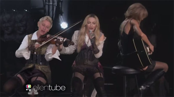 Ellen Performed with Madonna and Taylor Swift at iHeart Radio Awards