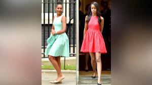 Sasha and Malia Obama Looks Gorgeous during Downing Street Visit