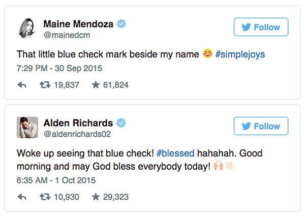 Maine Mendoza Alden Richards AlDub Twitter accounts now verified