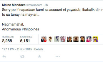 Maine Mendoza's Twitter Account Hacked