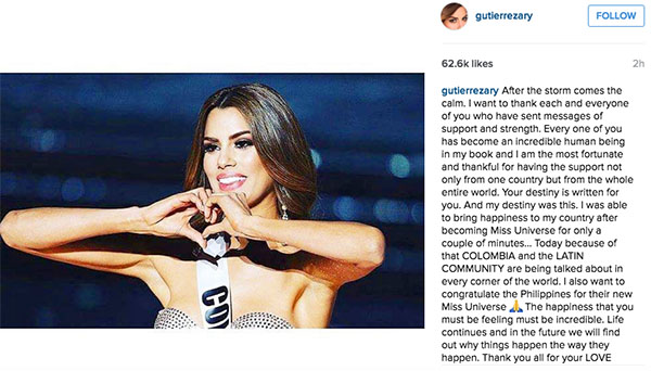 Miss Colombia congratulates Philippines Miss Universe 2015