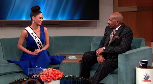 Miss Universe Pia Wurtzbach inerview with Steve Harvey Video