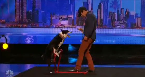 Patrick and pet dog Ginger AGT