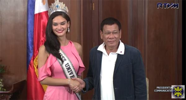 Duterte meets pia miss universe