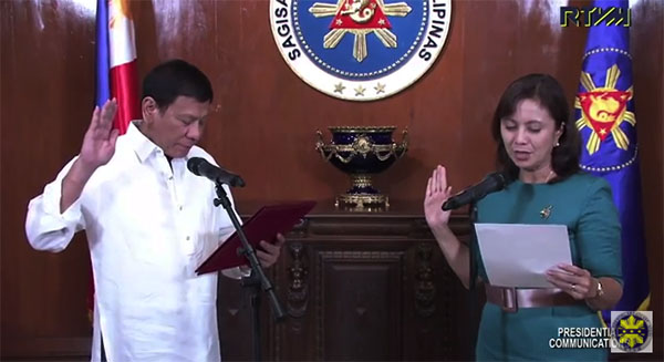 President Duterte VP Leni Robredo HUDCC oath-taking