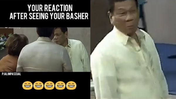 President Duterte makes face after shaking hands with Leila de Lima