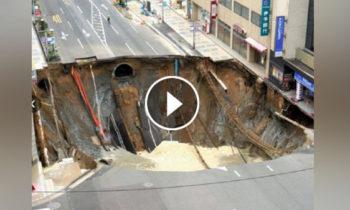 Watch: Massive sinkhole opens up in Fukuoka Japan