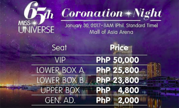 Miss Universe 2016 Ticket Prices - Where to buy?