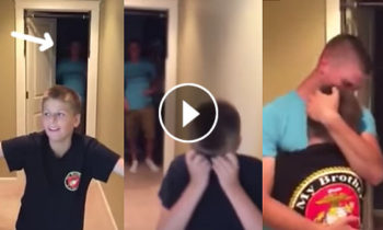 Boy melt into tears in a unexpected reunion with Marine brother