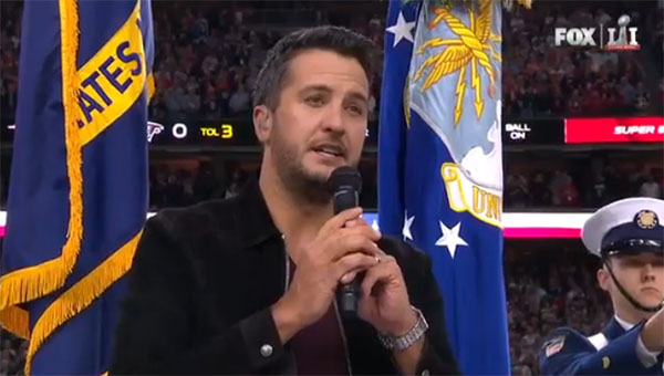 Luke Bryan honored America by singing the National Anthem at the Super Bowl 51 on Sunday, February 5, 2017.