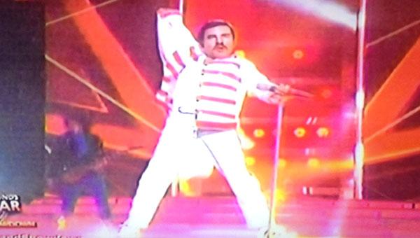 Sam Shoaf as Freddie Mercury on Your Face Sounds Familiar Kids Grand Final Showdown