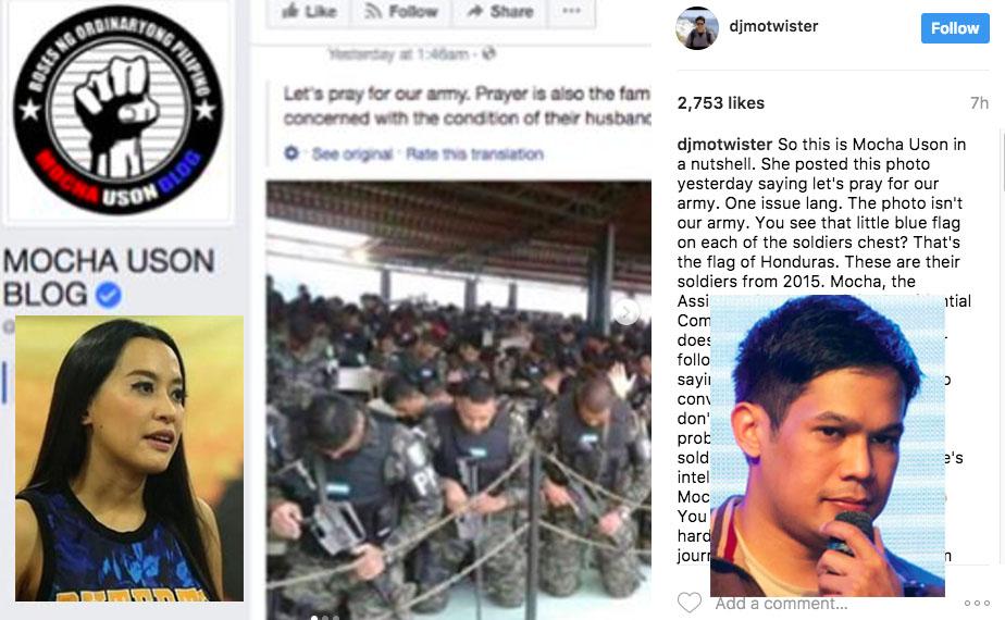 Mo Twister Slams Mocha Uson for Using Wrong Photo, calls Mocha a 'Journalism Kuto'