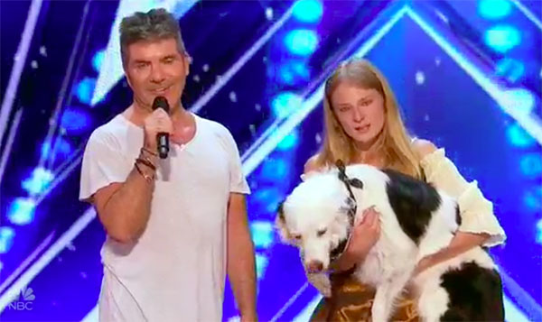Sarah Carson and pet dog Hero gets help from Simon to pass on America's Got Talent Auditions