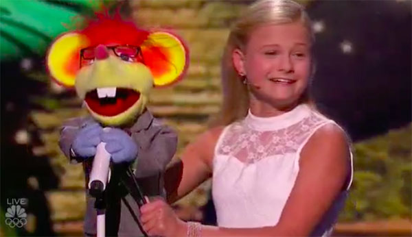 Ventriloquist Darci Lynne and Oscar sings for Mel B on America's Got Talent Live Shows