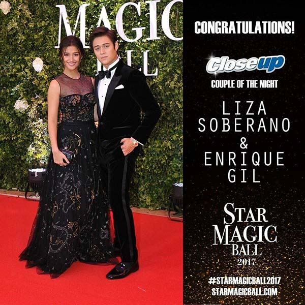 Liza Soberano and Enrique Gil wins Couple of the Night at Star Magic Ball 2017