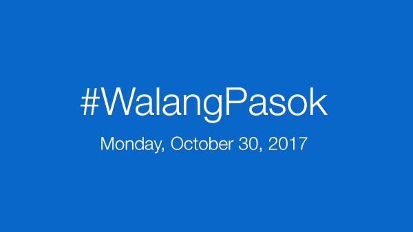 Walang Pasok: Class Suspensions for Monday, October 30, 2017