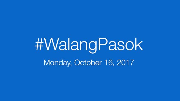 Walang Pasok: Class suspensions for Monday, October 16, 2017