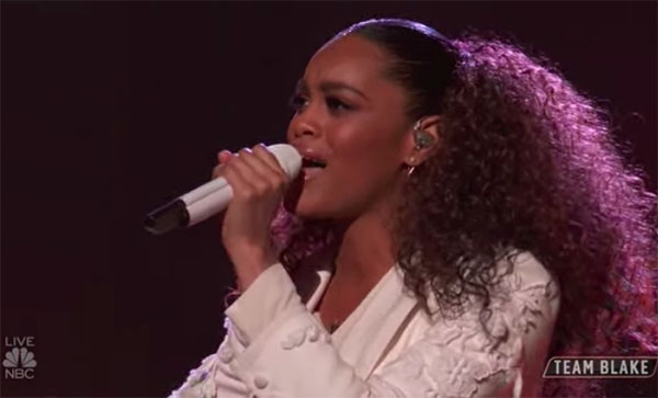 "Spensha Baker sings ""Down on My Knees"" on The Voice 2018 Top 12 Live Shows"