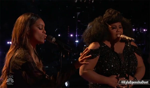 "Kyla Jade and Spensha Baker ""What's Going On/Rise Up"" Duet on The Voice 2018 Top 8 Semifinals"