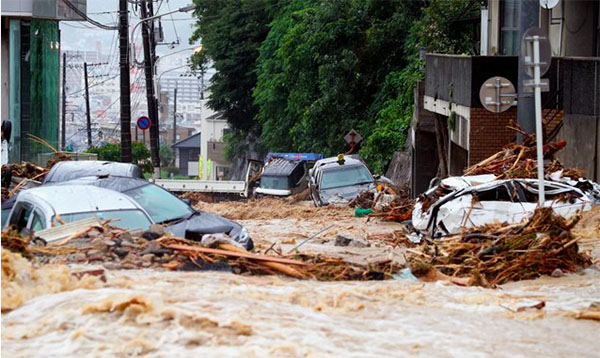 Horrifying Live Footages and Photos of Japan Floods and Landslide