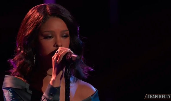 """Lynnea Moorer sings """"Consequences"""" on The Voice Top 11 Live Shows"""