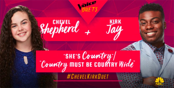 "Chevel Shepherd, Kirk Jay sings ""She's Country / Country Must Be Country Wide"" duet on The Voice 2018 Semifinals"