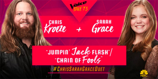 "Chris Kroeze, Sarah Grace sings ""Jumpin Jack Flash / Chain Of Fools"" duet on The Voice 2018 Semifinals"