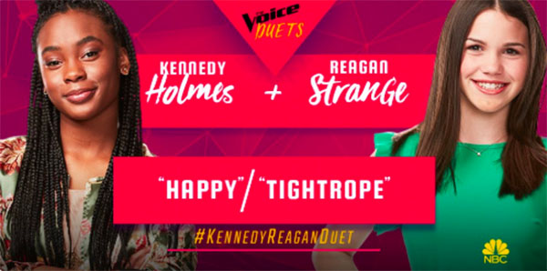"Kennedy Holmes, Reagan Strange sings ""Happy / Tightrope"" duet on The Voice 2018 Semifinals"