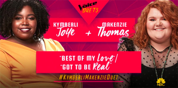 "Kymberli Joye, MaKenzie Thomas sings ""Best of My Love / Got to Be Real"" duet on The Voice 2018 Semifinals"