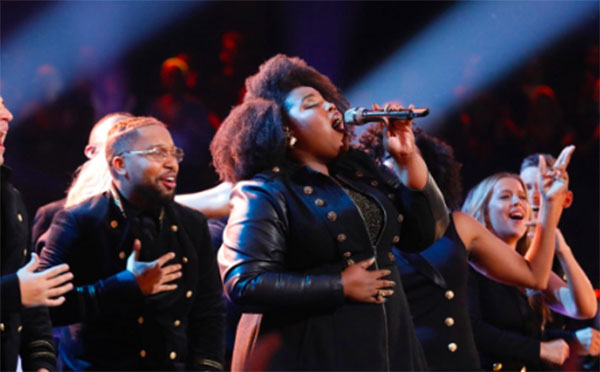 "Kymberli Joye sings ""Never Alone"" on The Voice Season 15 Top 8 Live Shows, Monday, December 10, 2018."