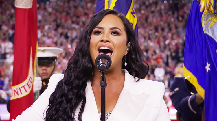 Demi Lovato Sings National Anthem at Super Bowl 54