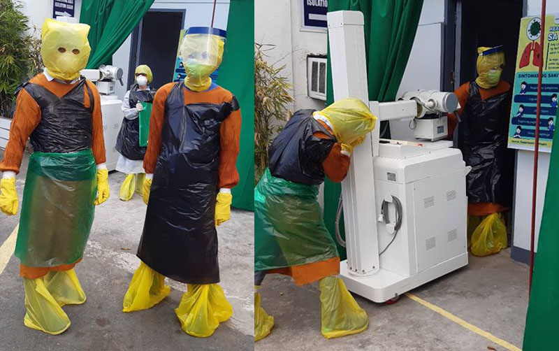 VIRAL: Frontliners sa Laguna Nag-Improvise ng PPE Suit na Gawa sa Plastic Bags