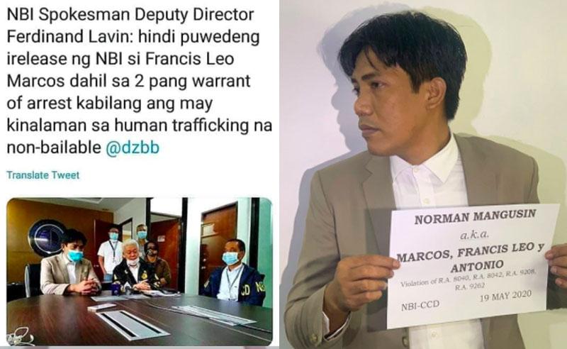 Francis Leo Marcos hindi pwedeng irelease ng NBI dahil sa Non-bailable Case