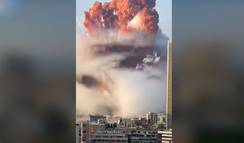 Actual Footage of Massive Explosion in Beirut Lebanon