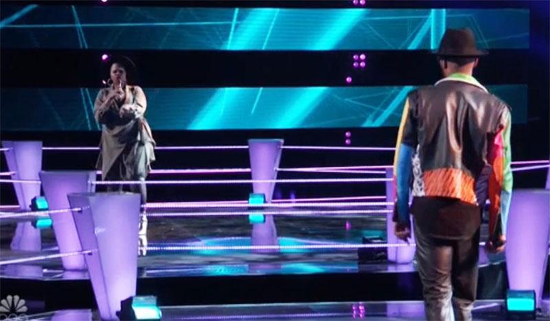 "Dana Monique vs Devan Blake Jones sings ""Stuck with U"" on The Voice Season 20 Battles"