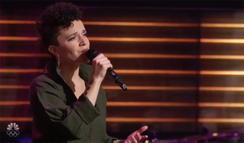 """Halley Greg sings """"I'm Like a Bird"""" on The Voice Season 20 Blind Auditions"""