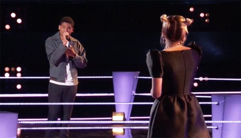 "Ryleigh Modig vs Gean Garcia sings ""POV"" on The Voice Season 20 Battles"