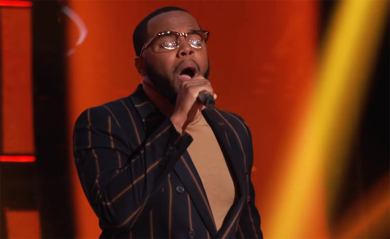 """Victor Solomon sings """"Glory"""" on The Voice Season 20 Blind Auditions"""
